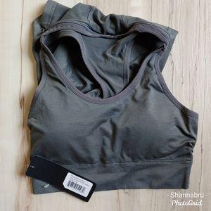 NWT Yelete Sports Bra with detachable hood GRAY